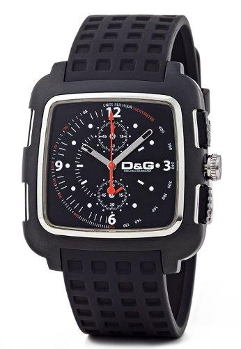Dolce & Gabbana E CHR IPBLK FRAME SLV DIAL BLK STRAP DW036 - Reloj de caballero de cuarzo (japonés), correa de goma color negro (con cronómetro)