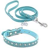 Wowangwang Kleines Hundehalsband, PU-Leder mit Diamantglocke, Haustier-Außenschicht-Halsbandkragen (20% zweite Stück),Blue,L