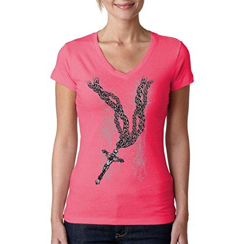 Biker Girlie V-Neck Shirt - Jesus Cross on Chain by Im-Shirt Light-Pink