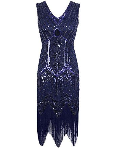 PrettyGuide 1920er Jahre mit V-Ausschnitt Sequin Art Deco Gatsby Inspiriert Flapper-Kleid XL...