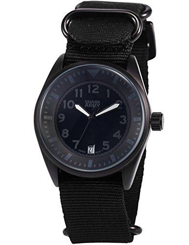 SHARK ARMY Herren Armbanduhr Analog Quarz Datum Anzeige Milit?r Nylon Band SAW109