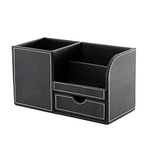 Topsaire 22.5 * 10 * 12.5CM Stifteköcher PU-Stifthalter Multifunktions-Doppelfach-Schreibtisch-Oberfläche große Kapazität Aufbewahrungsbox(Schwarz) - Schwarze Oberfläche, Schreibtisch