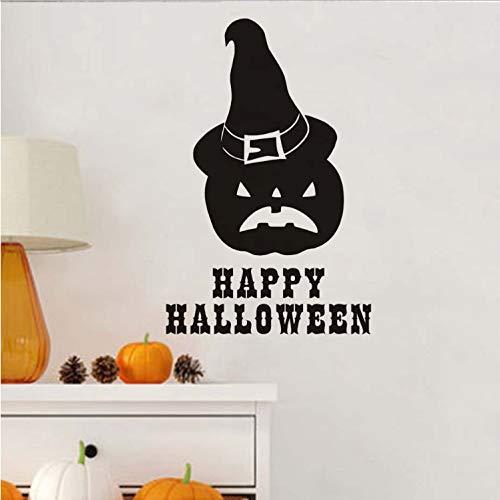 huangyuzzzz Wandaufkleber Für Kinderzimmer Abnehmbare Aufkleber Happy Halloween Kürbis Wizard's Home Halloween Dekoration Zubehör 57 cm X 37 cm