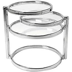 Leitmotiv Double Swivel Tisch, Kaffeetisch, Beistelltisch, Glas, Chrom, Mini