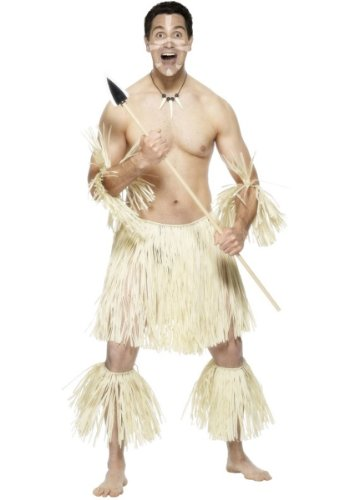 Karneval Herren Kostüm Zulu Krieger Ureinwohner Afrika Verkleidung (Zulu Krieger Kostüm)