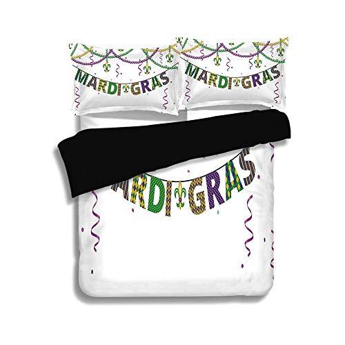 Schwarzer Bettbezug-Set, Mardi Gras, festliche Dekoration mit Fleur De Lis-Symbolen, die an bunten Perlen hängen Dekorativ, Lila, Grün, Gelb, Dekorativ 3-teiliges Bettwäscheset mit 2 Kissenbezügen, TW (Gras Mardi Schwarz Perlen)