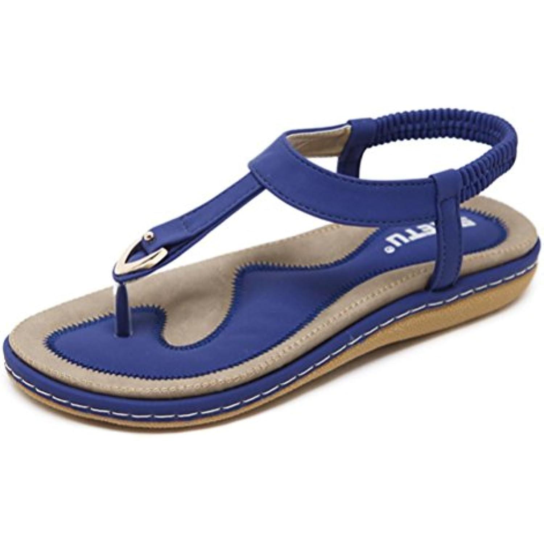 JIANGfu JIANGfu JIANGfu Femme  s Été Chaussures Plat Femmes Chaussures Plates Bohème   Glisser  s Rivet Peep-Toe... - B07DK8SZ3Z - 04b879