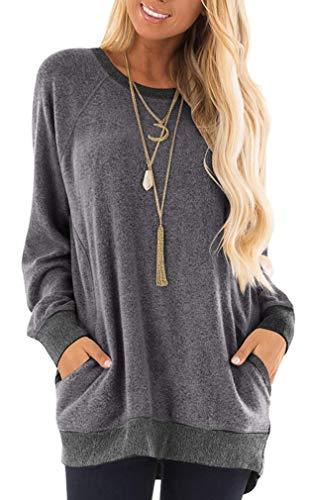 Leslady Sweatshirt Damen Casual Farbblock Langarmshirt Rundhals Pulli Bluse Top Pullover Oberteile mit Taschen(L, Grey)