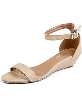 AgeeMi Shoes Damen Knöchelriemchen Pumps Wedges Schuhe Niedriger Absatz Sandalen