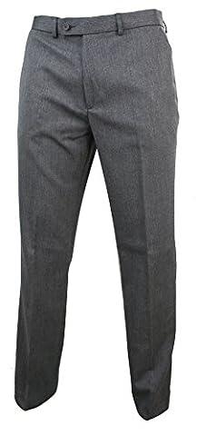 Pantalon droit homme gris formel élégant cintré tissu effet tweed