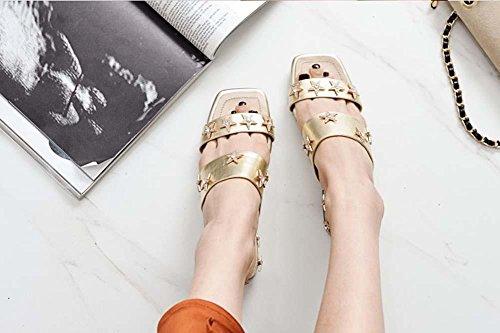 Scarpe per donne, oro di mulo Gold Star Pantofole in pelle Sandali casual per le donne Gold
