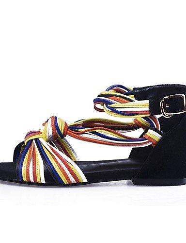 LFNLYX Scarpe Donna-Sandali-Formale / Casual / Serata e festa-Spuntate / Alla schiava-Basso-Finta pelle / Pelle / Scamosciato-Nero Black
