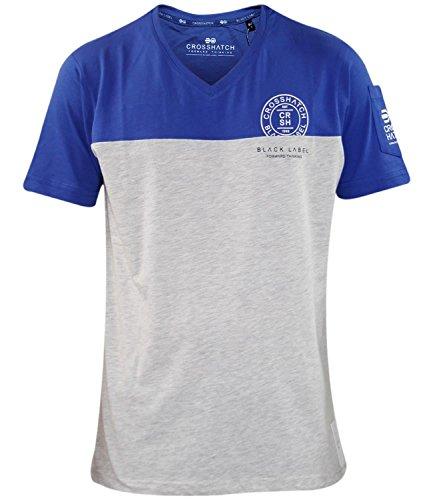 New Mens Crosshatch Graffic Print V Neck Designer Contrast T Shirt Latest Top Mazarine Blue