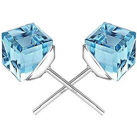 Invierno secreto de el agua cubo Sky Azul Cristal Forma Cuadrada Chapado en Plata de la moda pendientes de presión