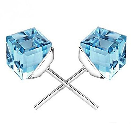 winters-secret-the-water-cube-sky-blue-crystal-square-shape-silver-plated-fashion-stud-earring