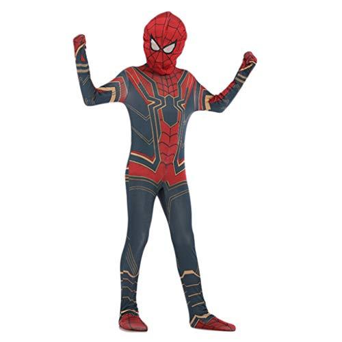 Spiderman Klassisches Kinderkostüm Cosplay Kinder Spinne Anime Abendkleid-Partei spielt Kostüm Film Ausstattungs-Halloween-Kleidung,Red,XL ()