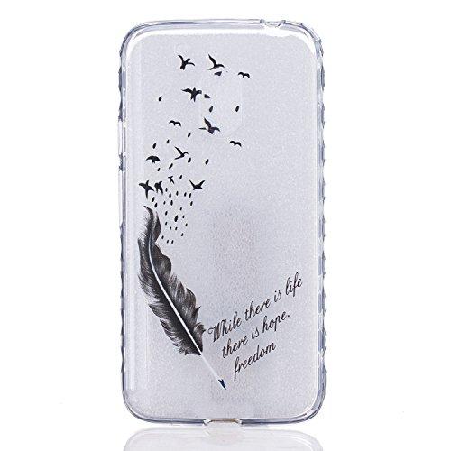 Preisvergleich Produktbild Cozy Hut Crystal Case Hülle für Motorola Moto G4 aus TPU Silikon mit Schwarze Feder Vögel Design - Schutzhülle Cover klar in schwarz Weiß Transparent - Vogelfedern