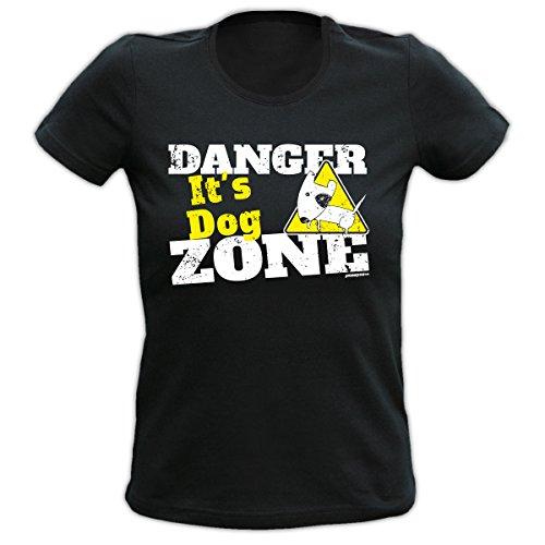 Damen Sprüche-Fun- T-Shirt Girlie-Shirt-Motiv Hund Katze als Muttertags-Geburtstags-Weihnachts-Geschenk Farbe: Khaki, weiss, schwarz schwarz-01