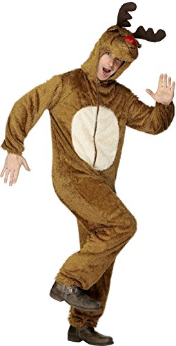 Smiffys, Herren Rentier Kostüm, Jumpsuit mit Kapuze, Größe: M, (Kostüme Ideen Rentier)