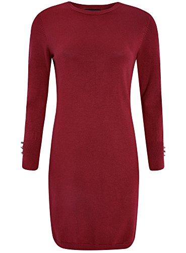oodji Collection Damen Viskose-Kleid Basic mit Knöpfen auf den Ärmeln Rot (4900N)