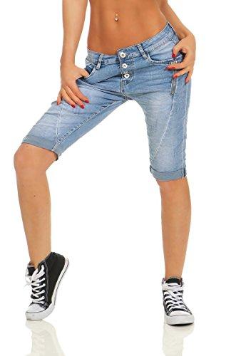 Fashion4Young 11512 Damen Jeans Bermuda Hose Boyfriend Denim Shorts Haremscut Knopfleiste Jeansbermudas Slimline Slim-Fit (blau, L-40)