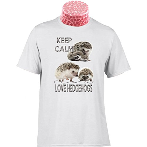 Hedgehog TEE Shirt, Keep Calm Love Hedgehogs. Fantastic Gift for People who Love These Wonderful Little Animals. Excellent Teacher end of Term Gift