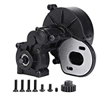 SOULONG RC Car Gearbox with Gear , Complete Center Gearbox With Gear Transmission Box for SCX10 / SCX10 II 90046 RC Crawler Car , Plastic Black