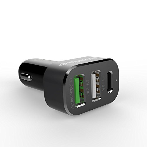 Moarmouz® USB Type C Car Charger, 45W 3-Port USB Car Charger with Qualcomm Quick Charge 2.0 Technology (1 Year Warranty) Other Type C Supported Devices - BLACK