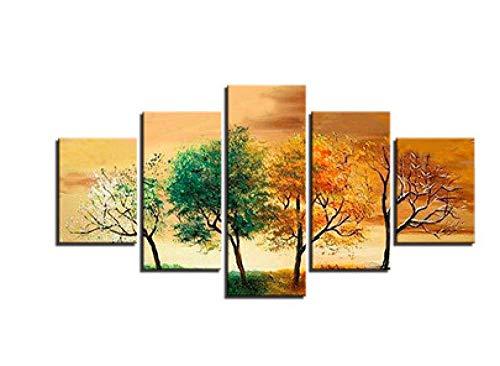CANPIC Moderne HD-Wandgemälde gedruckt modulare Poster 5 Panels Vier Jahreszeiten Baum Landschaft Home Decor @ 30X40 30X60 30X80cm kein Rahmen -