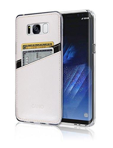 S8Plus Case [Leder Rückseite] [Wallet Case] [2Karte] S8Plus Weich Slim Fit Hybrid Bumper Polyurethan TPU Flexibles Leicht, Schutz für Samsung Galaxy S 8Plus, weiß - Bling Samsung Case Note4