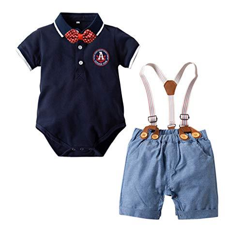 TTLOVE_Baby Jungen Kinder Gentleman AnzüGe Kurzarm Bowtie Body Strampler+ Hosenträger Shorts Cute Jumpsuit Outfit Set Kinderkleidung (Marine,80 cm,6-12 Monate) - Jersey-stil Pin