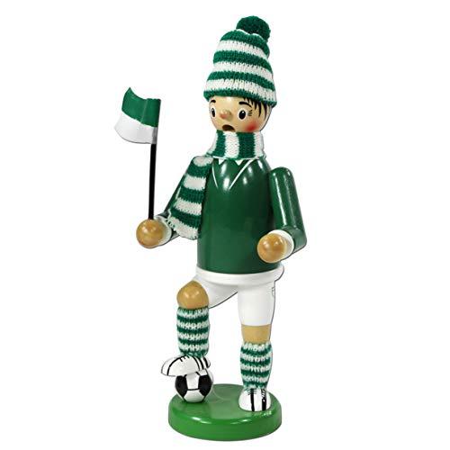 Dekohelden24 Figurine Räuchermann brûleur d'encens en tenue de footballeur env. 20 cm vert/blanc