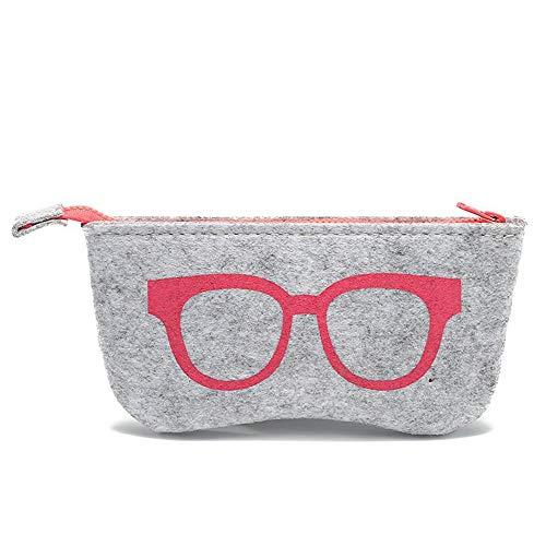 QSFGHJKUV Federmäppchen Brillenetui 5 Stück New Filz Brillenetui Fashion Personalized Zipper Bag Großhandel High-End-Multifunktions-Sonnenbrille Tasche, Pink