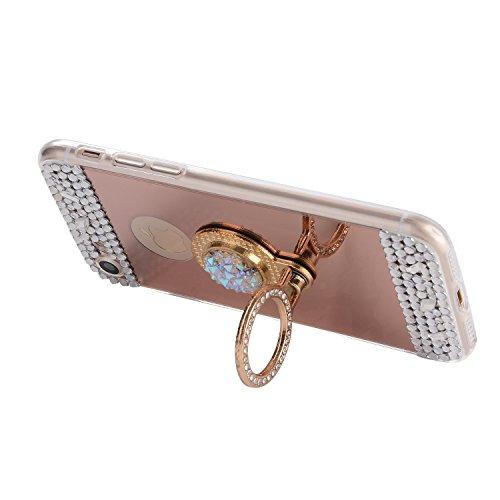 für iphone 7 Plus Hülle Silikon Spiegel,SKYXD mit Glitzer Strass Weiche Dünn Schlank Schutzhülle mit [Handyanhänger + Eingabestifte] Rutschfest Gummi Gel Stoßfest Handyhülle für iphone 7 Plus Case Sof Ring-Rose Gold