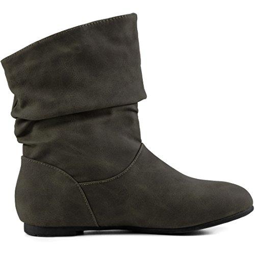 De Couro Ankle Alta Óptica De Couro Em Básicos Boots Curtas Deslizar Suave Botas Botas Qualidade Óptica Trabalhadores Verde Dos Eixo 6Unwx0Sq