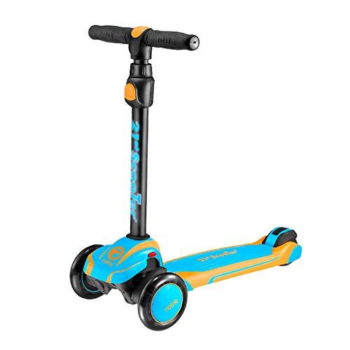 Dreiradscooter Trick Scooter – Anfänger Stunt Scooter Für Kinder Von 3 Bis 14 Jahren, PU-Blinkräder Freestyle-Tretroller Für Jungen Und Mädchen, Blau/Grau / Rosa/Rot