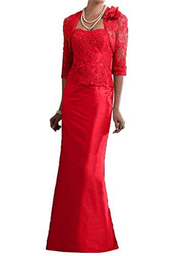 Milano Bride Damen Elegant Traegerlos Lang Abendkleider Brautmutterkleider Festkleider mit Bolero Applikation Langarm Rot