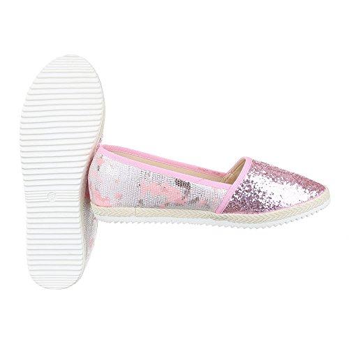 Rosa design Slipper Halbschuhe top Damenschuhe Deko Ital Pailetten Low qv1vYw8r