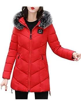 FNKDOR Las señoras de las mujeres adelgazan con capucha abajo el abrigo de la chaqueta de la capa del parka caliente...