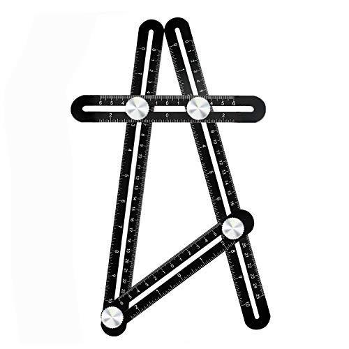 COSVE Multi-Winkel Lineal, Angleizer Vorlage Werkzeug, Messlineal Werkzeug mit Angehängte Geschenk, Premium Aluminium Messgerät für Handyman Bauherren Handwerker