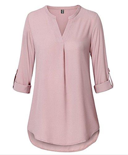 Fleasee Damen Elegante V-Ausschnitt Tunika 3/4 Ärmel Locker Bluse Frauen Langarmshirt Freizeit Chiffon Oberteile Lady Casual Shirt