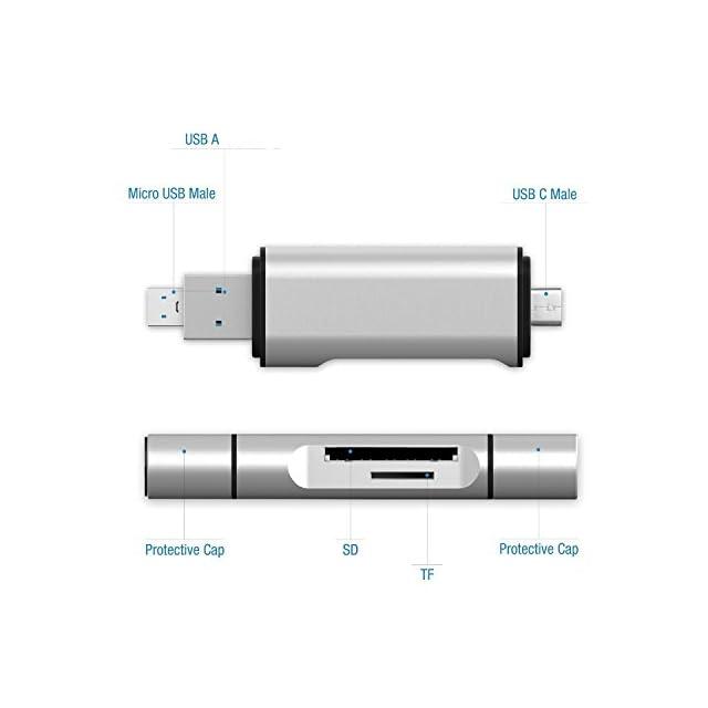 Jelly Comb Lecteur de Cartes SD, Micro SD, SDXC, SDHC, Micro SDHC, Micro SDXC avec Port 3.0 USB-A, Micro USB, USB-C pour Ordinateur Macbook Tablette Smartphone OTG