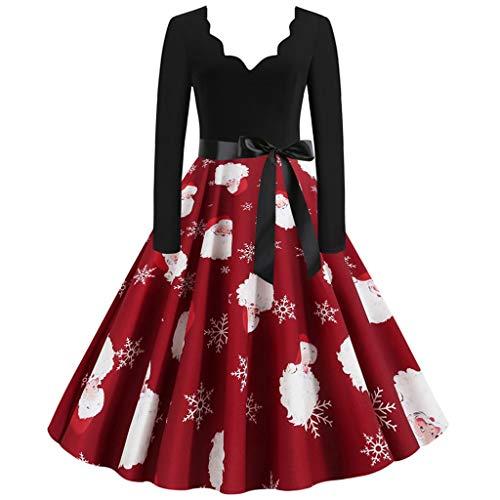 UFACE Damen Vintage 50er Cap Sleeves Rockabilly Retro Kleider Hepburn Stil Partykleid