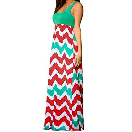 Quadrat Hals T-shirts Tops (MRULIC Damen Sommerkleid Kleider Maxikleid Streifen Schulterfrei Rundhals High Waist Lang Kleid Partykleid (XL, Rot))