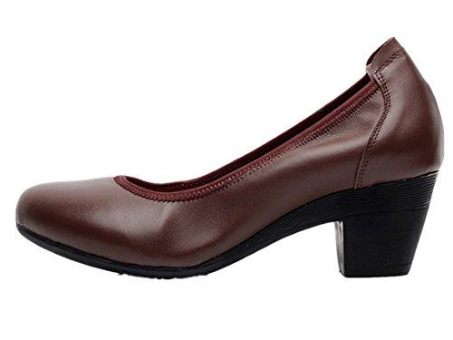Wealsex Escarpins Chaussure Bureau Cuir Femme Bout Ronde Talons Bloc Talons Moyen Confort Brun