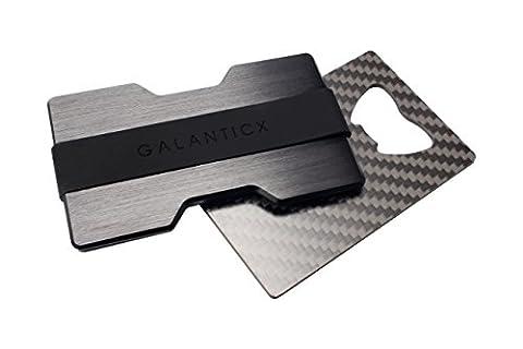GALANTICX Premium Kartenetui mit Geldklammer - inklusive praktischem Carbon Flaschenöffner - hochwertiger Kreditkartenhalter aus gebürstetem Aluminium - minimalistische Geldbörse mit RFID und NFC Schutz