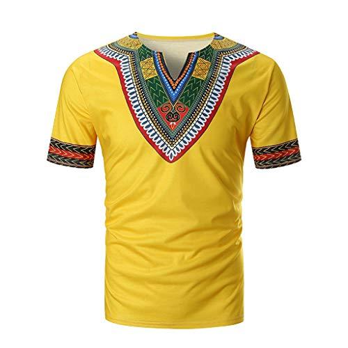 Innerternet Männer Sommer Casual African Print V-Ausschnitt Pullover Kurzarm T-Shirt Top Bluse Druckten Freizeit Sommer-beiläufige Kurze Hülsen-T-Shirts T-Stücke Diverse Farbsets auswählbar