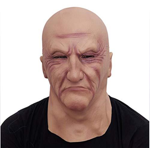(TINGTING Realistische Latex Old Man Maske Männlich Verkleidung Halloween Kostüm Kopf Gummi Erwachsene Party Masken Maskerade Cosplay Requisiten)