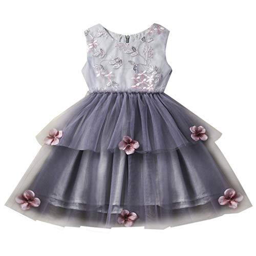 UFODB Tanzkleid Mädchen Latein Baby Prinzessin Kleid Blumen Sommer Fashion Mädchenkleid Taufkleid Festlich Hochzeit Partykleid Festzug Babybekleidung