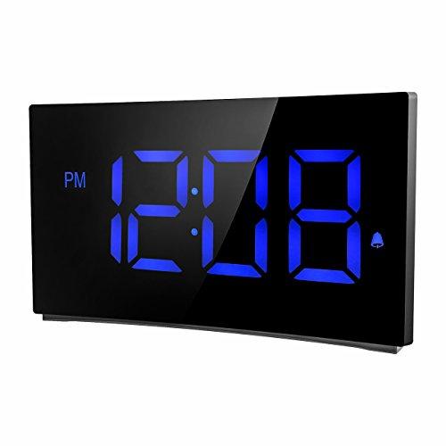 Holife Despertador Digital, [2018 Actualizado] Reloj Despertador Digital de Pantalla Curvada, con 3 Sonidos de Alarma, Fácil de Operacion, Función Snooze con Botón Grande, 2 Volumen Ajustable - Azul